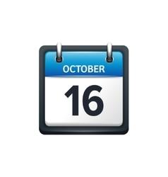 October 16 Calendar icon flat vector image
