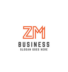 Orange initial letter zm logo template vector