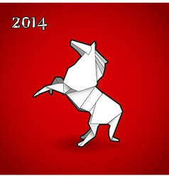 Oriental origami New year horse on red background vector image