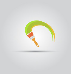 Paint brush and paint stripe isolated icon vector