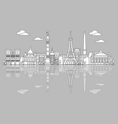 Paris skyline line art 5 vector