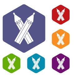 Pencils icons set hexagon vector
