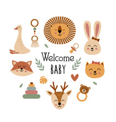 Poster with bohemian baby animals faces vector
