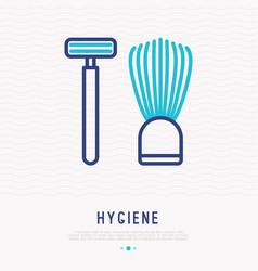 razor and shaving brush thin line icon vector image