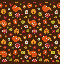 retro snails and flowers seamless pattern vector image