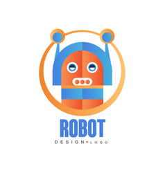 Robot logo artificial intelligence badge for vector
