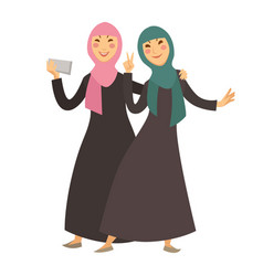 Saudi arab muslim women with smartphone selfie vector