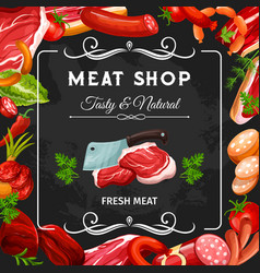 Sausages beef pork chicken and lamb meat vector