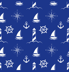 sea and nautical seamless pattern on blue vector image