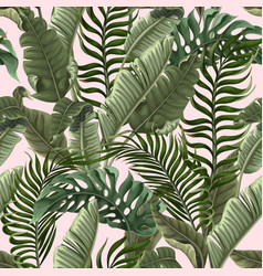 Seamless pattern with tropical leaves on pink vector