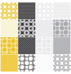 Seamless patterns with dots circles and waves vector