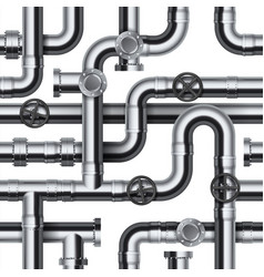 Seamless pipeline pattern realistic water and gas vector