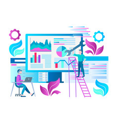 seo optimization concept teamwork vector image