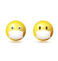set emoji emoticon with medical mask on face vector image