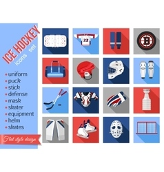 set flat ice hockey icons vector image