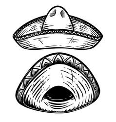 set mexican sombrero design element for vector image