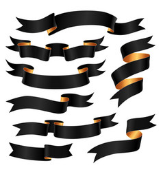 set of black ribbons vector image