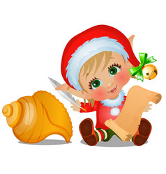 set of santas helper with seashell isolated on vector image