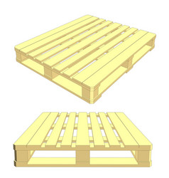 set of wooden pallet isolated on white vector image