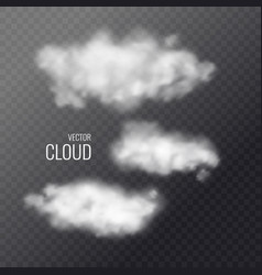 set transparent white clouds in background vector image
