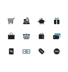 Shopping duotone icons on white background vector