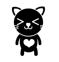 Silhouette happy cat cute feline animal vector