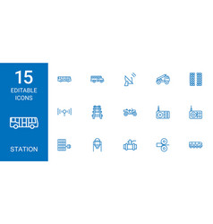 station icons vector image