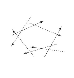 the airplane is in a dotted line the flying vector image