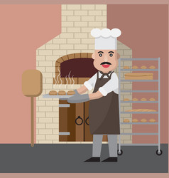 Uncle chef bake bread vector