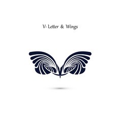 V letter sign and angel wings monogram wing logo vector