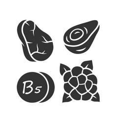 Vitamin b5 glyph icon meat avocado vector