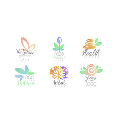Wellness center logo design collection healthy vector