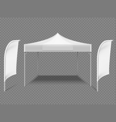 White promotional advertising outdoor event tent vector