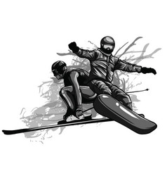 winter sports couple man and woman with a vector image