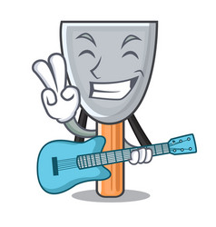 With guitar cartoon putty knife in plaster vector