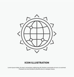 world globe seo business optimization icon line vector image