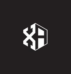 Xa logo monogram hexagon with black background vector