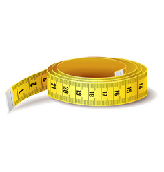 Yellow measure tape icon isolated on white vector