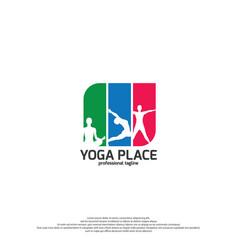 Yoga studio logo template with colorful design vector