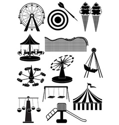 Amusement parks carnival icons set vector image vector image