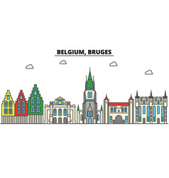 belgium bruges city skyline architecture vector image