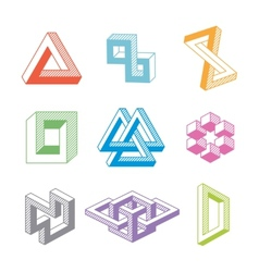 Colorful impossible geometric shapes vector image vector image
