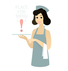 cute waitress with apron holding waiter s tray vector image vector image