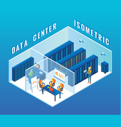 data center cutaway interior flat isometric vector image