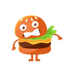 frightened burger with big eyes cute cartoon fast vector image