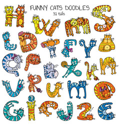 funny cats doodles set color vector image vector image