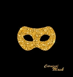 Golden Glittering Carnival or Theater Mask vector image vector image