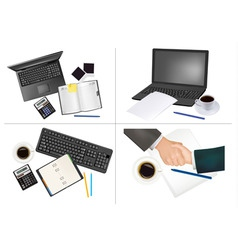 set of office backgrounds vector image vector image