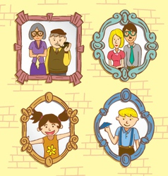 vintage frame with family photo vector image