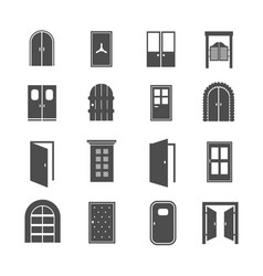 black door icons open and close house and vector image vector image